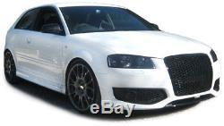 Calandre Pare Choc Noir Brillant Nid D Abeille Rs3 Audi A3 8p & Sportback 05-08