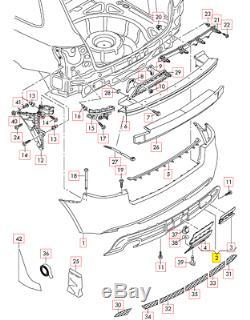 Neuf D'Origine Audi A3 Pare-Chocs Arrière Diffuseur Bordure Noir 8P0807434C01C