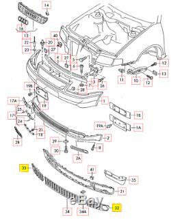 Neuf Véritable Audi S3 8L 97-03 Set Feu de Brouillard Pare-Chocs avant Grille